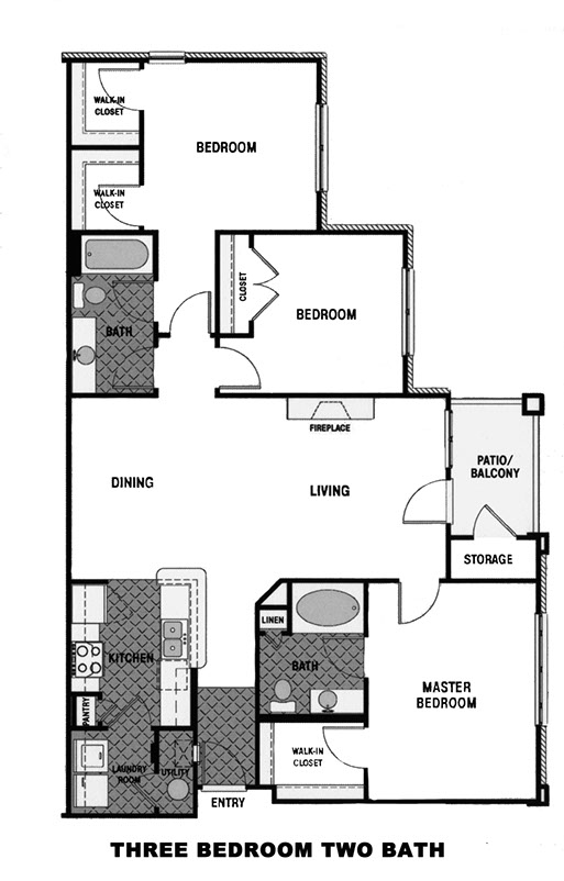 Mason Estates Floor Plan for 3 bedroom 2 bath