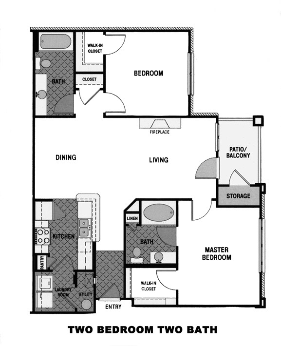 Floor plan for garden style 2 bedroom